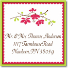 Name Doodles - Square Address Labels/Stickers (Chelsea Hot Pink)